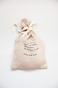 Pure Organic Unbleached Linen Bread Bag with beautiful quote from 'The Tassajara Bread Book'