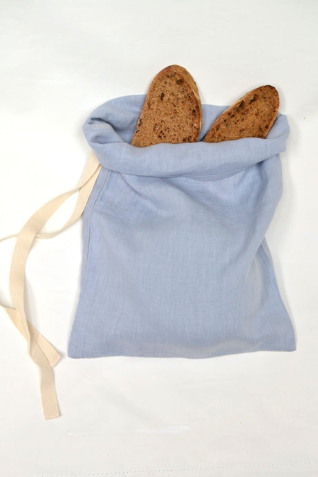 Pure Organic Linen Bread Bag -Very limited edition - Duck egg blue-