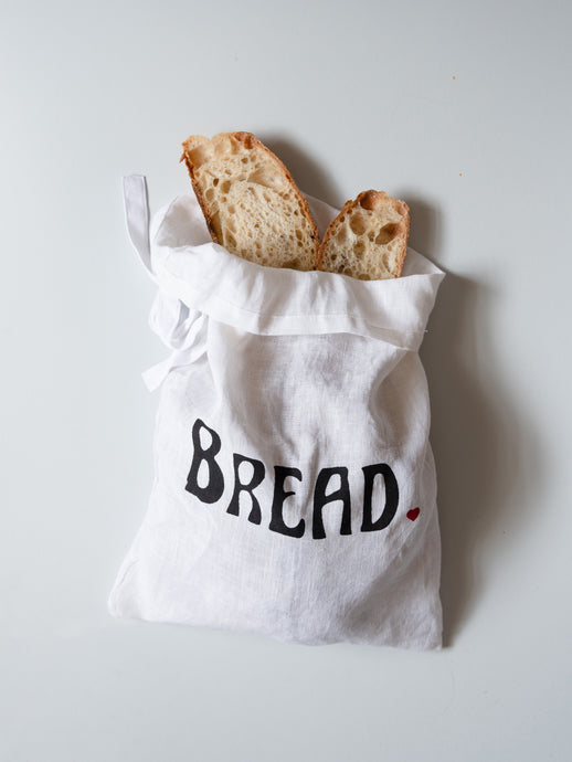 Pure Organic Linen Bread Bag - hand lettered with Bread