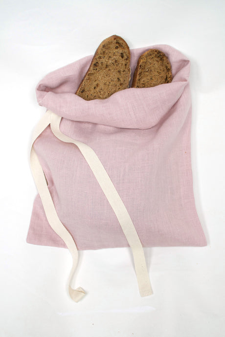 Pure Organic Linen Bread Bag - Limited Edition Dusky Pink