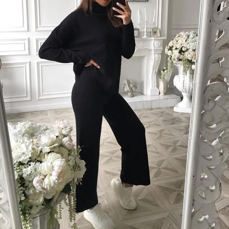 Poptia Vintage Black High Neck Long Sleeve Sweater Two-Piece Set
