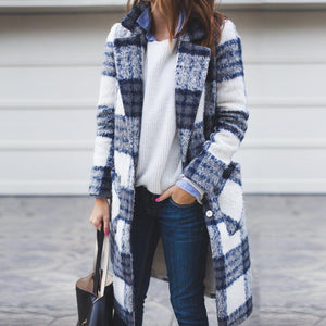 Poptia Fashion Mid-Length Plaid Woolen Coat