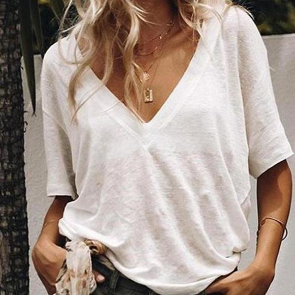 Poptia Casula Loose V-Neck T Shirt Tops