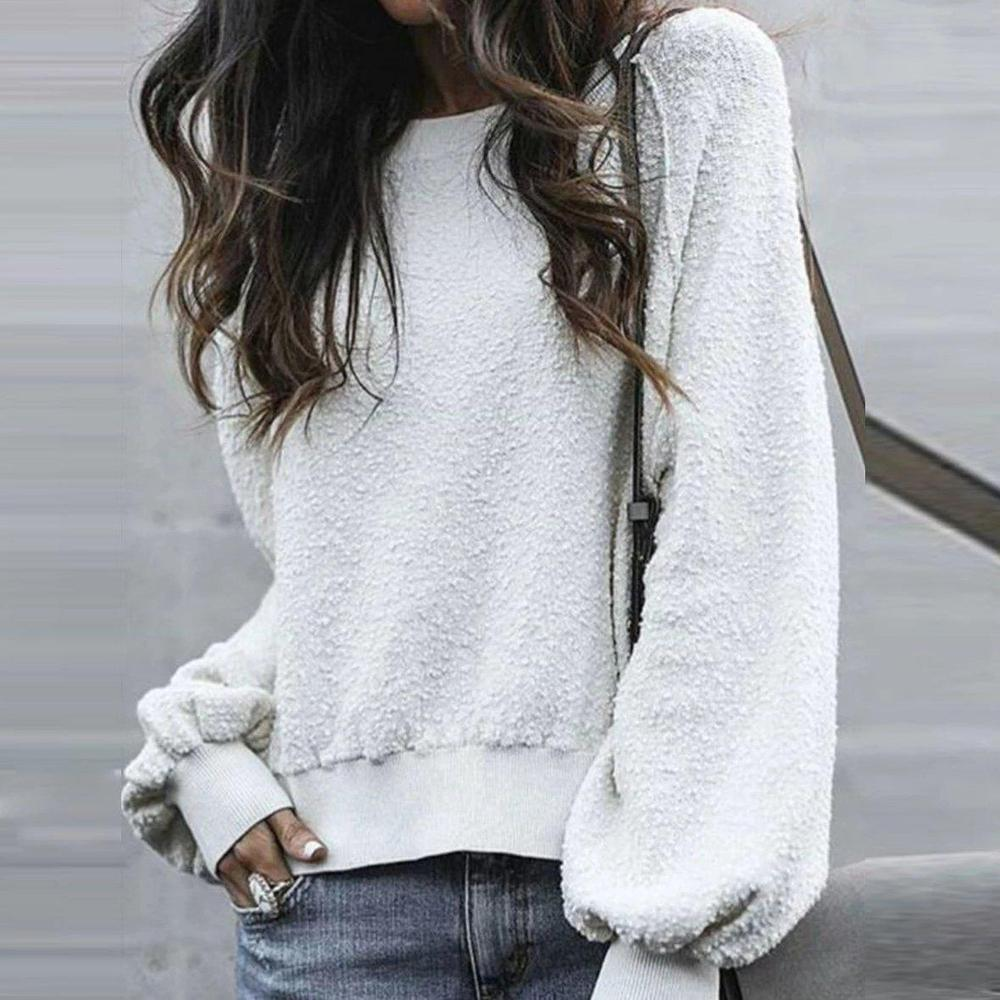 Pure Color Round Neck Long Sleeve Sweatshirt