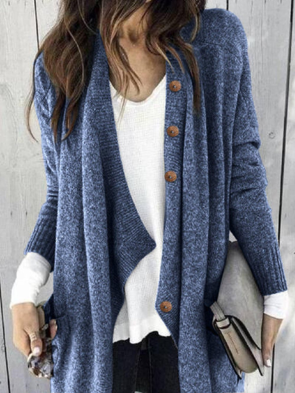 Casual Shawl Collar Long Sleeve Pure Color Cardigan