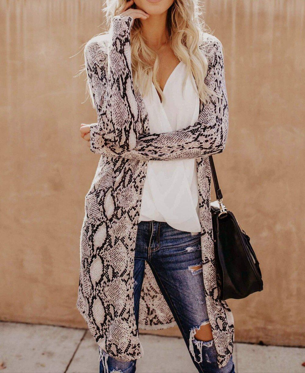 Poptia Long Sleeve Print Coat