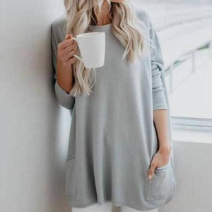 Poptia Loose Off The Shoulder Long Sleeve Tee