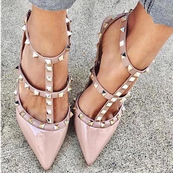Poptia Rivet Pointed Toe High Heel Shoes