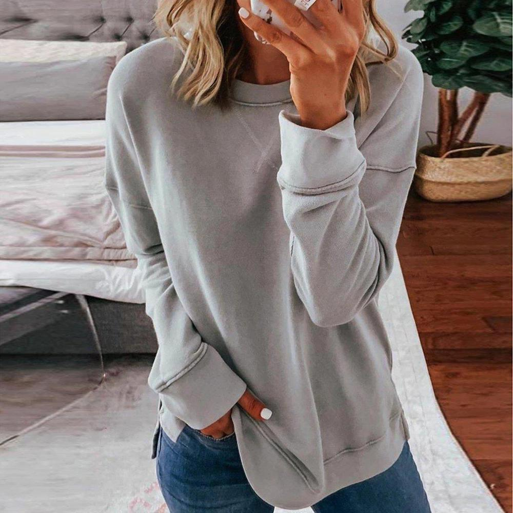 Poptia Casual Round Neck Long Sleeve Pullover Sweatshirt