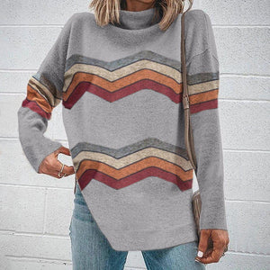 Poptia High Neck Long Sleeve Striped Top