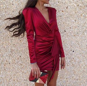 Poptia Red V-Neck Ruched Long Sleeve Mini Party Dress