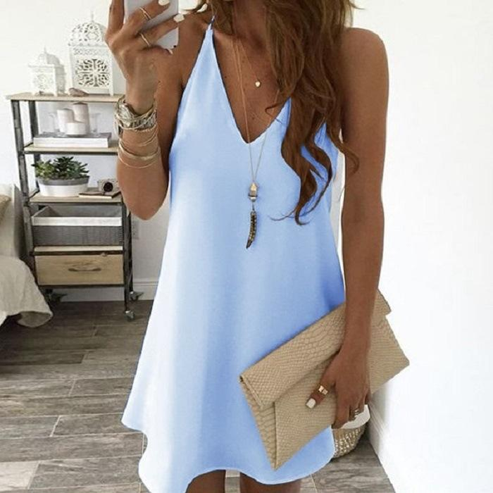 Poptia Solid Color V-Neck Halter Mini Dress