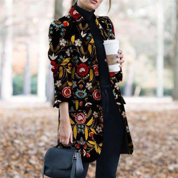 Poptia Fashion Elegant Print Long Sleeve Collared Coat