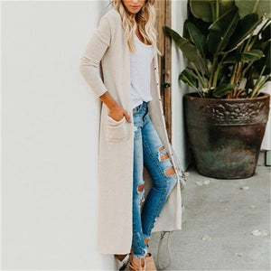Poptia Solid Color Long Sleeve Cardigan