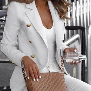 Poptia Long Sleeve Collared  Structured Blazer