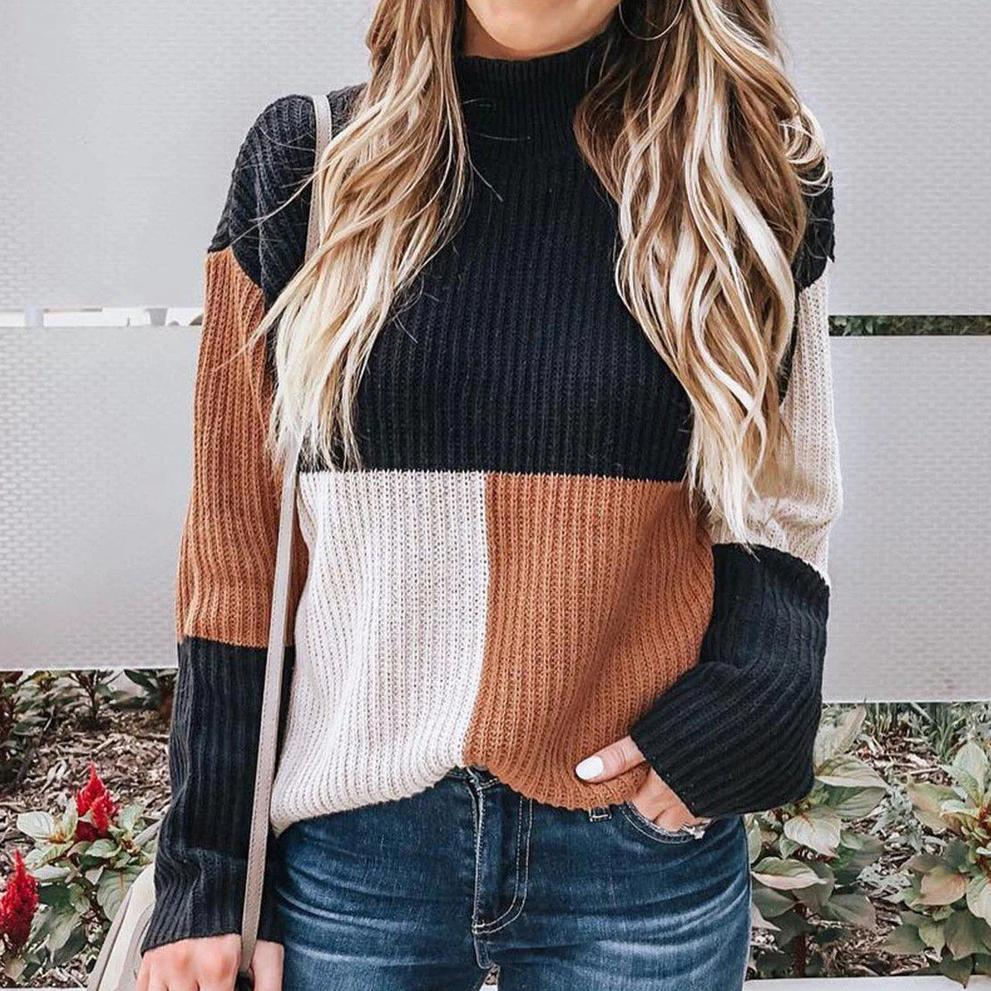 Poptia Casual Color Block Long Sleeve Sweater