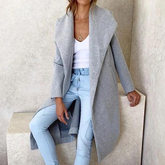 Long Sleeve Collared Casual Coat