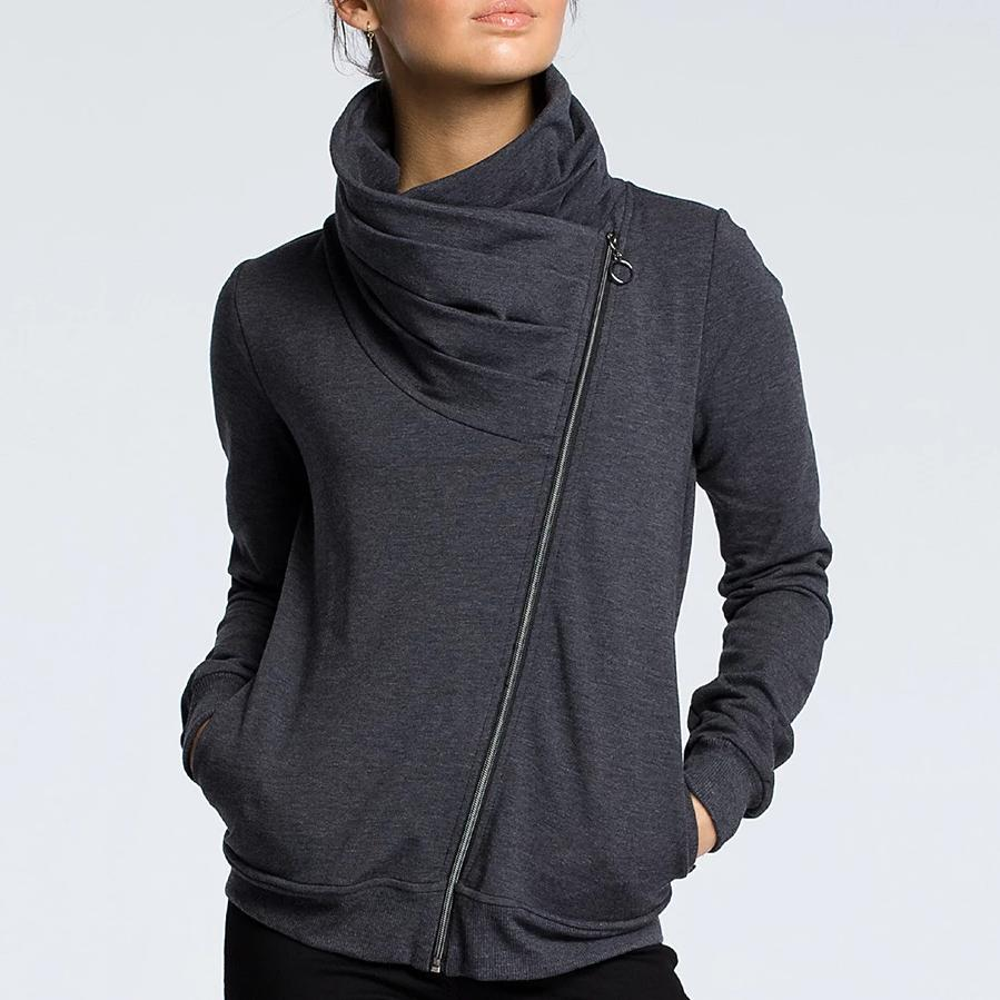 Poptia Classy Plain Zip Funnel Neck Long Sleeve Coat