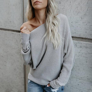 Poptia Off The Shoulder Long Sleeve Sweater
