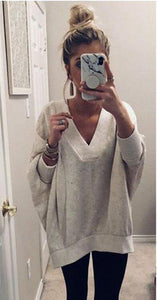 Poptia Casual V-Neck Long Sleeve Batwing Sleeve Plain Sweater