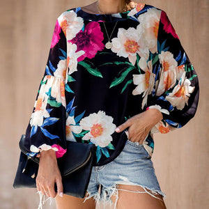 Poptia Casual Floral Printed Long Sleeve Blouse