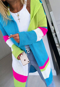Casual Loose Multicolor Patchwork Long Sleeve Cardigan