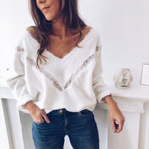 Hollow Out Lace Deep V-Neck Plain Sweater