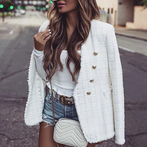 Poptia Double Breasted Pure Color Long Sleeve Jacket