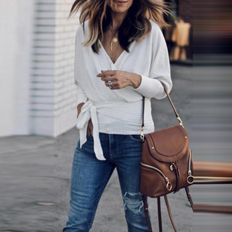 Sexy Long Sleeve V-Neck Plain Top