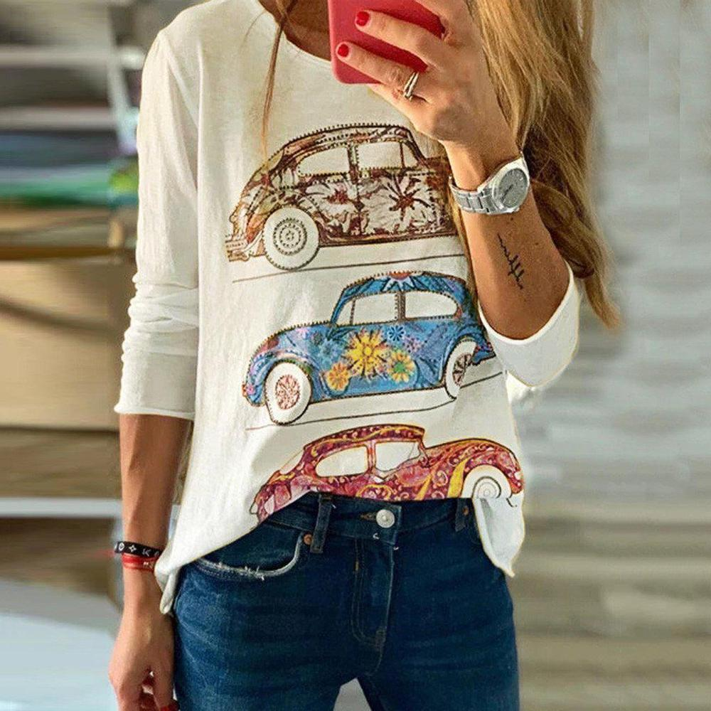 Poptia Color Print Round Neck Long Sleeve Tee