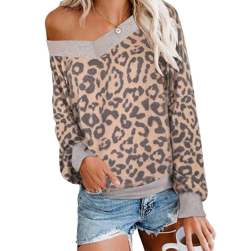 Sexy V-Neck Leopard Print Long Sleeve Tee