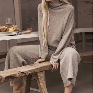 Poptia Turtleneck Long Sleeve Knitted Two-Piece Set