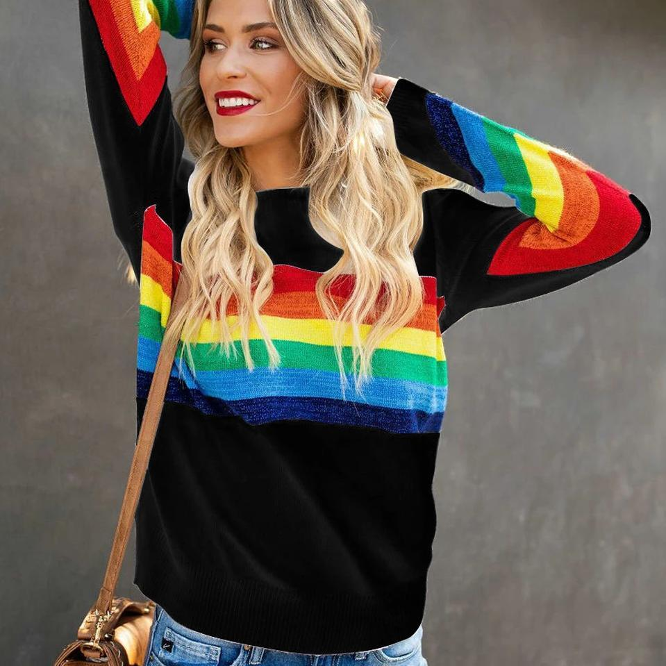 Casual Round Neck Striped Long Sleeve Tee