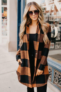 Popular Plaid Long Sleeve Coat