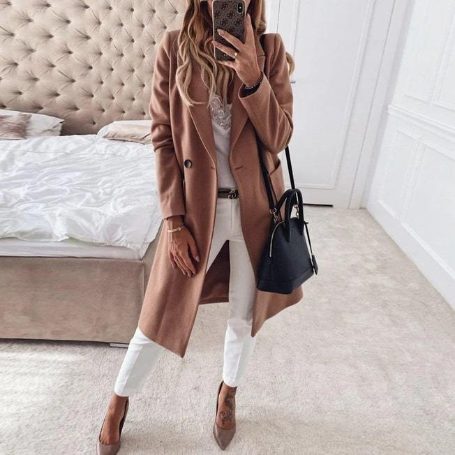 Poptia Khaki Loose Fashion Lapel Long Coat
