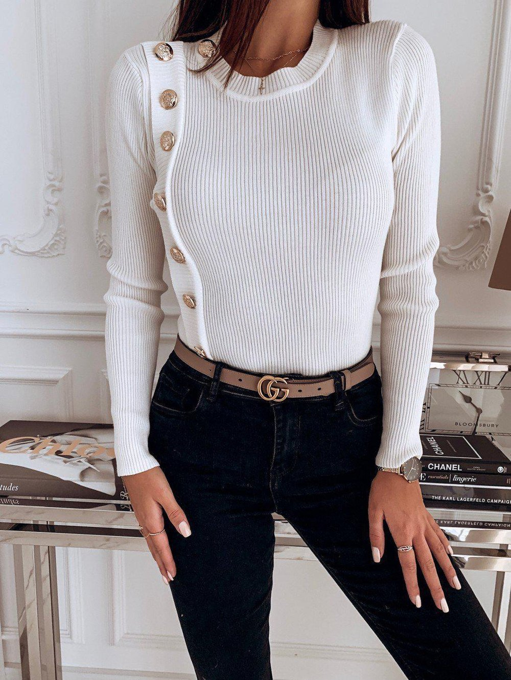 Poptia Pure Color Round Neck Long Sleeve Sweater