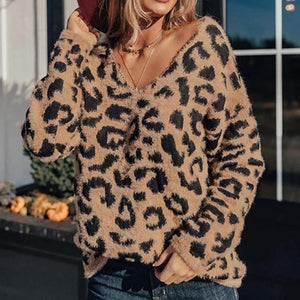 Poptia Fashion V-Neck Leopard Sweater