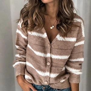 Poptia Chic V-Neck Stripe Splice Sweater Cardigan