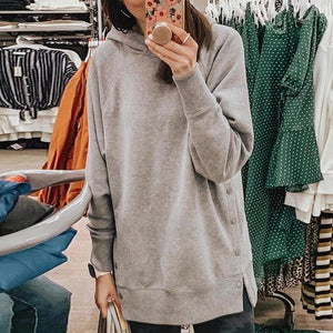 Poptia Long Sleeve Pure Color Hoodie