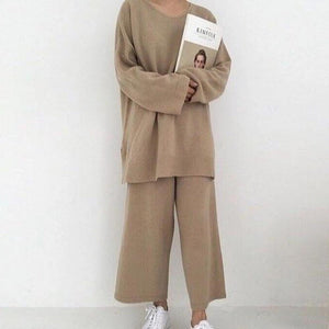Poptia Solid Color Crew Neck Casual Two-Piece Set