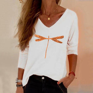 Poptia Color Print V-Neck Long Sleeve Tee