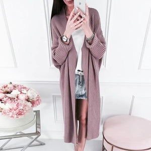 Poptia Long Sleeve Casual Midi Length Cardigan