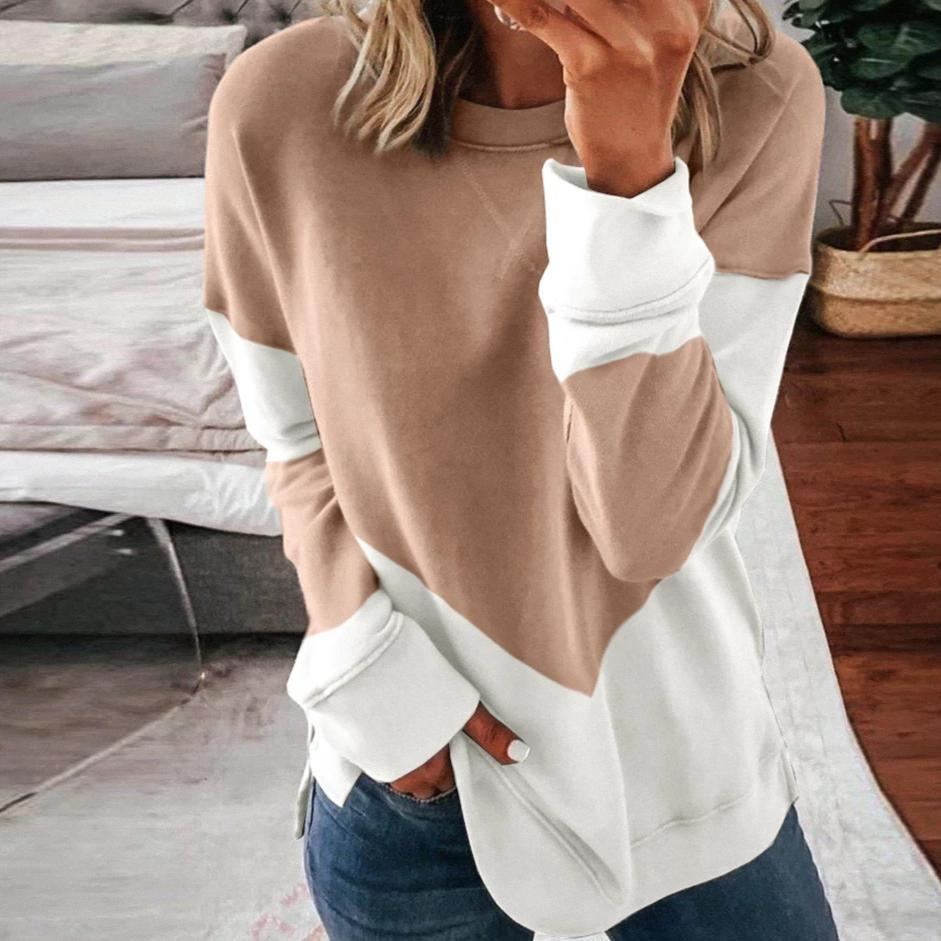 Poptia Casual Color Block Round Neck Long Sleeve Sweatshirt
