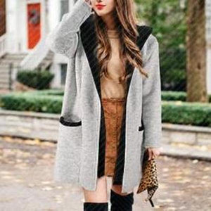 Poptia Casual Long Sleeve Plain Hoodie Coat