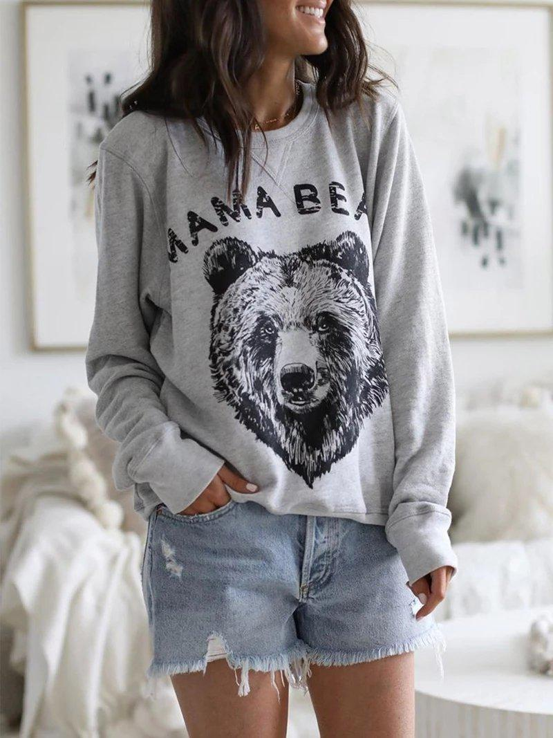 Loose Animal Print Round Neck Sweatshirt