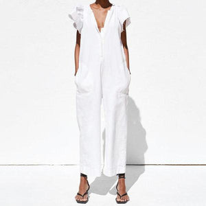 Poptia V-Neck Ruffled Pocket Cool Girl Jumpsuit