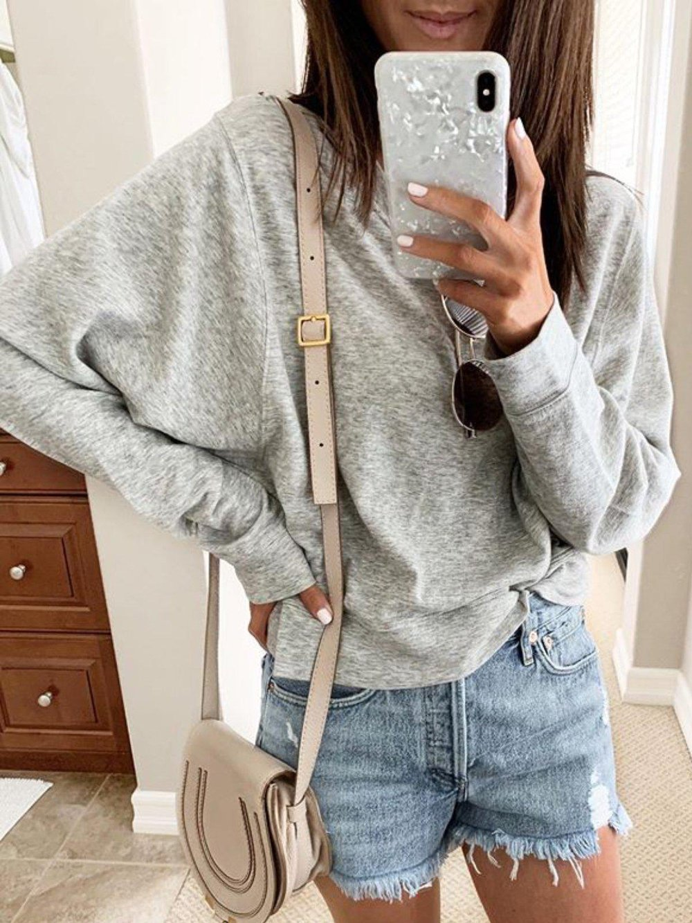 Poptia Casual Round Neck Long Sleeve Solid Sweatshirt
