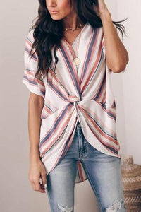 Poptia Colorful Striped Twisted Knot Shirt