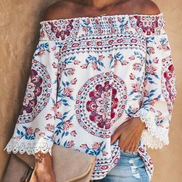 Poptia Printed Casual Off The Shoulder Blouse