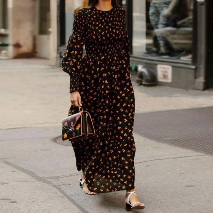 Poptia Round Neck Long Sleeve Printed Maxi Dress